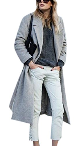 Women's Long Wool Overcoat Fashion Grey Lapel Winter Thick Coat Jacket