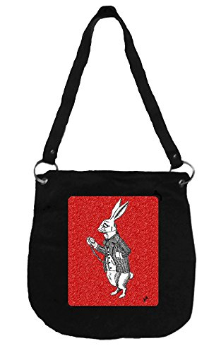 Canvas Messenger Bag Featuring Alice & the White Rabbit – Handcrafted