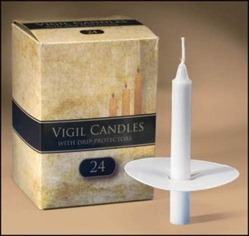 Church Candlelight Vigil 1/2 x 6 1/2 Inch Candles Lights with Paper Drip Protectors - 24 Per Box