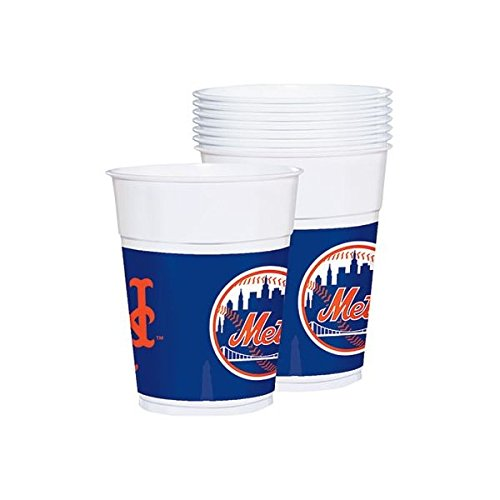Sports and Tailgating MLB Party New York Mets Plastic Cups Tableware, 25 Pieces, Plastic, Multicolor, 16 oz. by Amscan by Amscan