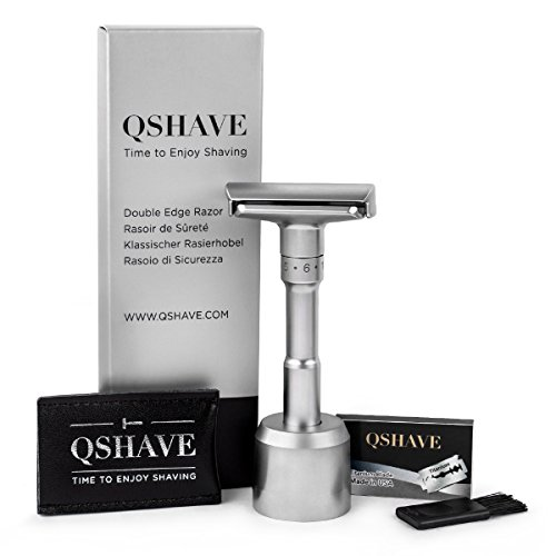 QSHAVE Premium Quality Adjustable Double Edge Safety Razor 700 (1 Razor, 1 Stand, 1 Leather Protective Sleeve & 5 pcs Titanium Coated Blades) (Best Quality Safety Razor)