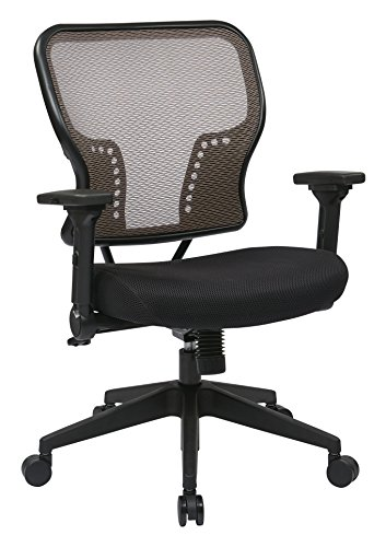 SPACE Seating AirGrid Back and Padded Mesh Seat, 2-to-1 Synchro Tilt Control, 4-Way Adjustable Flip Arms and Tilt Tension with Nylon Base Managers Chair, Latte (Tension Control Tilt)