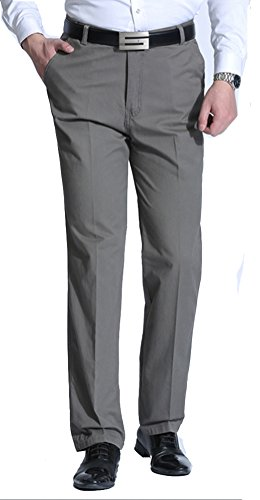 PhiFA Men's Straight Fit No Iron Plain Front Pants Gray Size 35