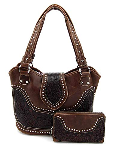 Concealed Carry Tooled Purse - Concealed Weapon Gun Bag w/Matching Wallet By Montana West - Coffee