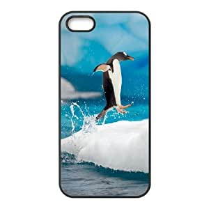 [Funny Animal Penguin] Cute Penquin Doing the Happy Feet Dance Jump onto the Ice Case For HTC One M7 Cover {Black}