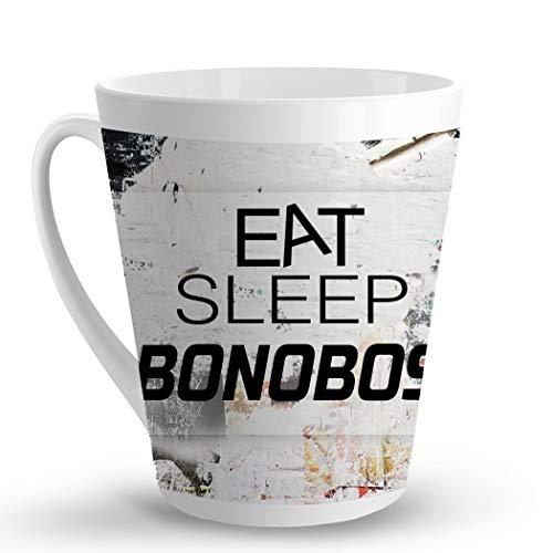 Makoroni - EAT SLEEP BONOBOS Animal - 12 Oz. Unique LATTE MUG, Coffee Cup