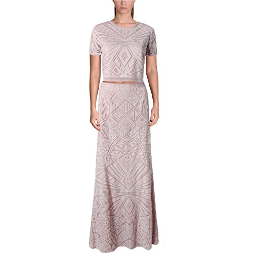 BCBG Max Azria Womens Maris Lace Illusion Crop Top Dress Pink 0 by BCBGMAXAZRIA (Image #2)