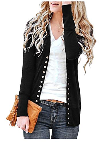 Twotwowin Women Button Down Cardigan Solid Color Long Sleeve Open Front Casual Knit Snap Sweater