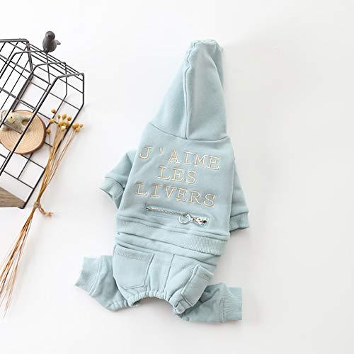 Ferza PetSuppliesMisc Autunno e Inverno Nuovi Vestiti dell'animale Domestico più Vestiti di Velluto di Cotone Cucciolo di Cane Velluto Pet Vestiti di Quattro Pezzi (Colore   blu, Dimensione   XL)