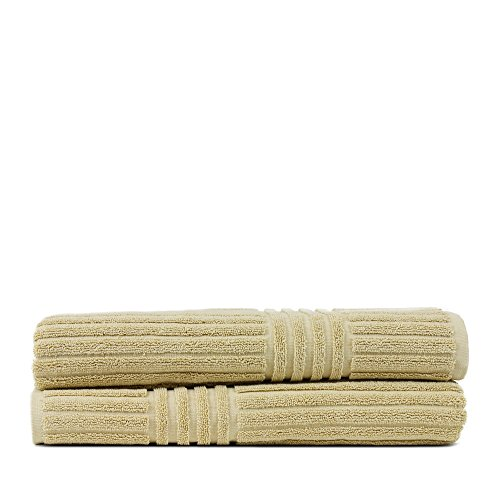 Bare Cotton Luxury Hotel & Spa Towel 100% Pure Turkish Cotton Ribbed Channel Pattren - Bath Towel - Driftwood - Set of 2