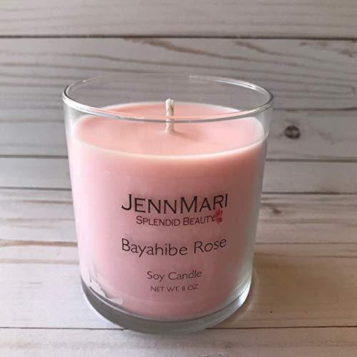 Splendid Beauty | Bayahibe Rose Scented Soy Candle Glass Jar | 10 Oz | Handmade | Eco-friendly | Vegan | Cotton Wick | 100% Soy -