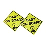 Waterproof Baby on Board Sticker Sign, Reflective and Magnetic (Pack of 2)