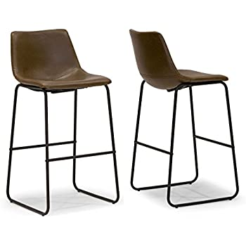 Amazon Com Glamour Home Barstool Dark Brown Faux Leather
