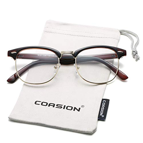 (COASION Vintage Semi-Rimless Clear Glasses Fake Nerd Horn Rimmed Eyeglasses Frame (Brown/Gold Rimmed))