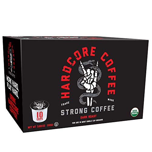 Hardcore Coffee Single Serve Pods for Keurig K Cup Brewers High Caffeine, Strong Organic, Dark Roast, 10 Count