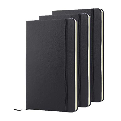 ZZTX 3 Pack Classic Notebooks Journals Diary Faux Leather Ruled Pages Hardcover Writing Notebook with Pocket, Gift, Black, Lined (8.5 x 5.3)