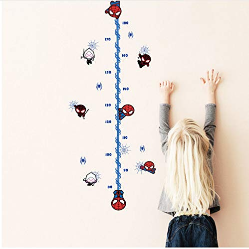 (ajhsuwn Cartoon Spiderman Height Measure Chart Wall Sticker for Kids Rooms Children's Growth Chart Wall Decals Boy's Room Decor Mural)