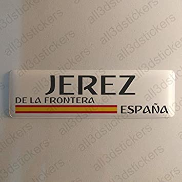 Pegatina Jerez de la Frontera España Resina, Pegatina Relieve 3D Bandera Jerez de la Frontera España 120x30mm Adhesivo Vinilo: Amazon.es: Coche y moto