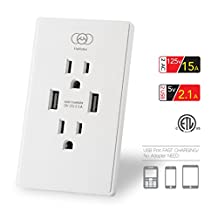HaHatec AUS2100 AC 15A Wall Outlet Smart High Speed Dual USB Charger Screwless Wall Receptacle Plate duplex USB receptacle Tamper-Resistant Outlet ETL 5V 2.1 Amp, White (High-Gloss surface, white)