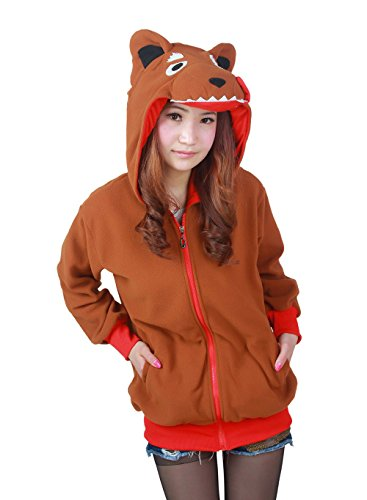 Ztl Unisex Cosplay Costumes Plush Animal Pajamas Onesie Hoodie Suits Jacket Wolf Coffee XL - Wolf Cape
