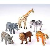 "Dozen Plastic Toy Safari Animals 4 1/2"""