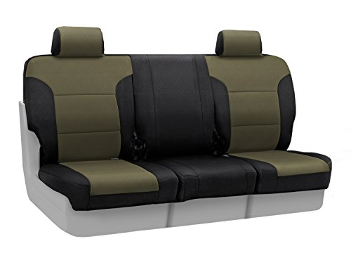 Coverking Custom Fit Front 40/20/40 Seat Cover for Select Ford Models – Spacermesh 2-Tone (Taupe with Black Sides)