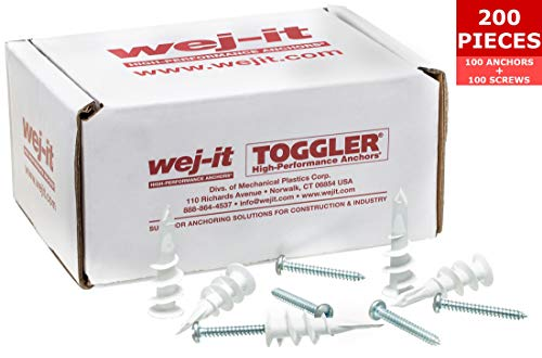 Wej-It Self-Drilling Drywall Anchors - Industrial Quality Screw & Wallplug Kit - Quick & Hassle Free Wall Fastening & Mounting - 200 Pcs (100 Anchors and 100 Screws) (Nylon - Plastic)