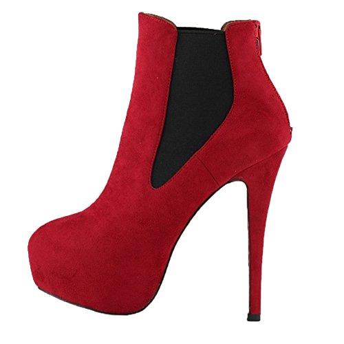 HooH Damen Stiefeletten Reißverschluss Spitze Zehe High Heel Kurze Stiefel Rot 37 EU E36ZdB39C