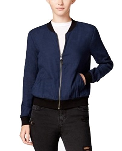 (Chelsea Sky Womens Long Sleeves Zipper Closure Bomber Jacket Navy/Blue Medium)
