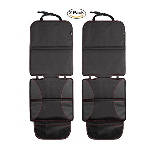 Car Seat Protector 2 Pack for Baby Child Car Seats, Universal Auto Seat Cover Pad / Dog Mat to Protect Leather & Fabric Upholstery, Anti-Slip Design for Infant Carseats with Storage Pockets