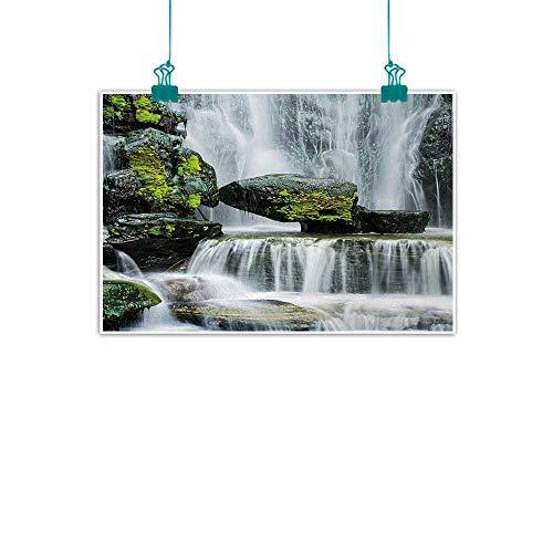 Waterfall,Modern Wall Art Majestic Waterfall Blocked with Massive Rocks with Moss on Them Photo W 32
