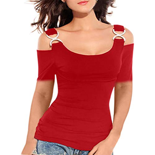 Effulow Women Summer Sexy Short-Sleeved Round Neck Ladies Solid Color Off-Shoulder Sling Loose Top T-Shirt Red