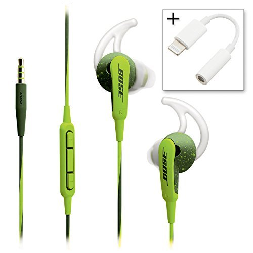 Bose SoundSport In-ear Headphones – Apple Devices Energy Green & Lightning to 3.5mm Adapter – Bundle