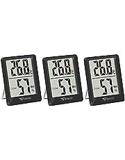 DOQAUS Digitale Thermo-hygrometer, 3 Stuks Binnenthermometer, Hygrometer, Temperatuur en Luchtvochtigheidsmeter met Hoge Nauwkeurigheid, voor Interieur, Babykamer, Woonkamer, Kantoor(Zwart)