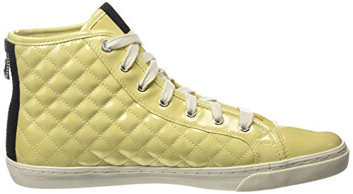 Geox New Club a, Zapatillas Altas para Mujer Amarillo - Yellow (Light Yellow)