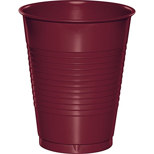 Stemware Burgundy (Club Pack of 240 Burgundy Disposable Plastic Drinking Party Tumbler Cups 16 oz.)
