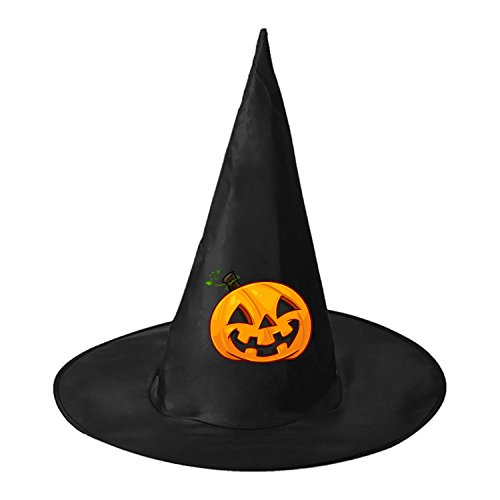 Hooters Costumes Halloween (Evil Pumpkin Halloween Black Witch Hat For Halloween Costume Accessory Cap For Party Halloween Carnivals)