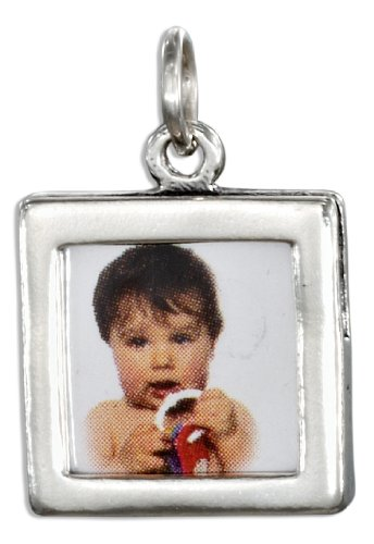 Frame Photo Sterling Square Silver (Sterling Silver Double Sided Square Picture Frame Charm)