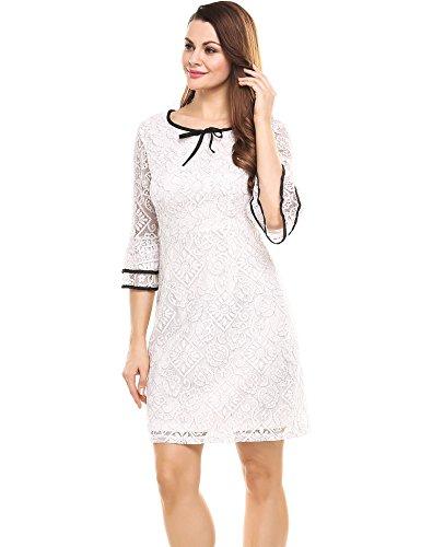 ACEVOG Damen Kleid Partykleid Casual V-Ausschnitt Kurzarm Solide A-Linie Plissee Tunika elastisches dünn Party Polyester Elasthan