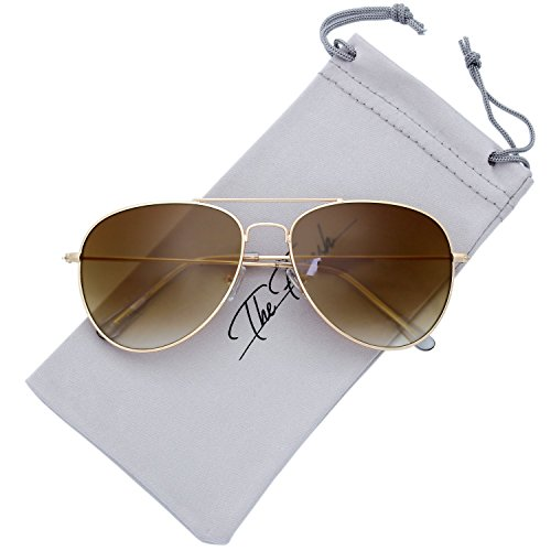 The Fresh Classic Large Metal Frame Gradient Lens Aviator Sunglasses with Gift Box (Gold, Gradient Brown)