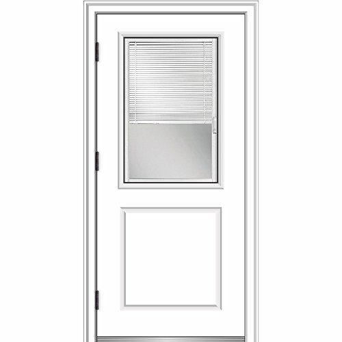 National Door ZA364906R Smooth, Primed, Right Hand Outswing, Prehung Door, 1/2 Lite 1-Panel, Clear Glass Internal Blinds, 36