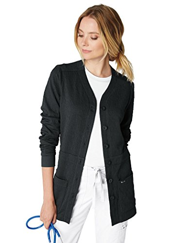 KOI Lite Women's Claire Button Front Solid Cardigan Scrub Jacket XXX-Large Black