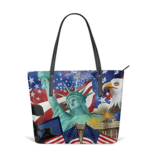 - King Dare Eagle With American Flag Women Fashion Handbags Tote Bag Shoulder Bag Top Handle Satchel - Microfiber PU Leather