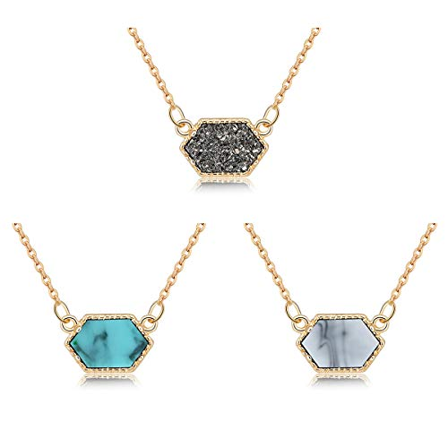 MissNity Girls Women Faux Druzy Jewelry Set Drusy Necklace 14k Gold Plated Hexagon Pendant for Best Friend (B4-Gold+Gray/Blue/White)