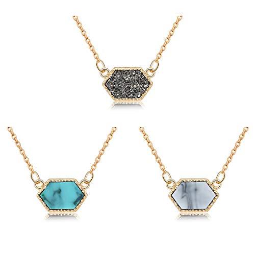 MissNity Girls Women Faux Druzy Jewelry Set Drusy Necklace 14k Gold Plated Hexagon Pendant for Best Friend ()