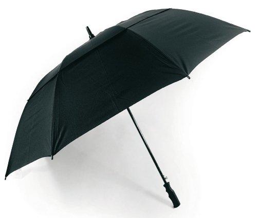 XXL Golf Schirm mit Fiberglas Sturmschutz / Windproof Partnerschirm Regenschirm schwarz Elegant Doppeldach