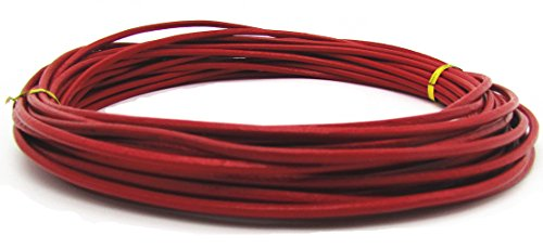 3 Red 10 Bracelet - Genuine Round Leather Cords 3.0mm For Bracelet Neckacle 10 Meter (Red)