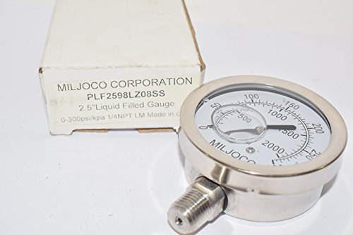 Miljoco PLF2598LZ08SS 2.5'' Liquid Filled Gauge (Filled 2 1/2' Gauges)