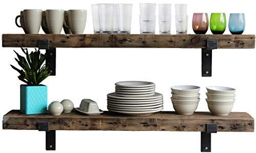 (Urban Legacy Reclaimed Barn Wood Shelves   Amish Handcrafted in Lancaster, PA Rustic, Industrial, with Raw Metal Brackets (Rustic Brown, 48