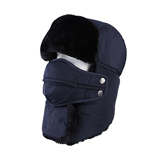 Leories Winter Trapper Trooper Hat Windproof Warm Camouflage Mask Ear Flaps Outdoor Sports Walking Skiing Hunting Hat Dark Blue